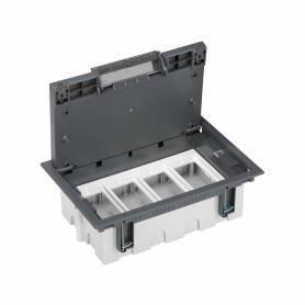 Caja de suelo regulable para 8 elementos en instalación de suelo de pavimento gris Simon 500 Cima
