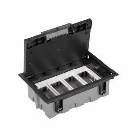 Caja de suelo regulable para 8 elementos en instalación de suelo de pavimento grafito Simon 500 Cima