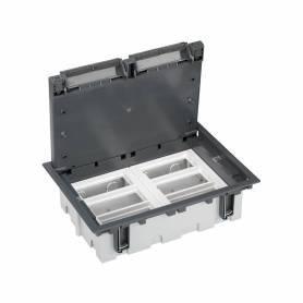 Caja de suelo regulable para 12 elementos en instalación de suelo de pavimento gris Simon 500 Cima