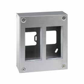 Caja metálica de pared de superficie para 2 elementos dobles acero inox Simon 500 Cima