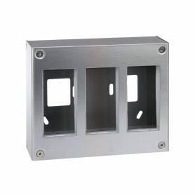 Caja metálica de pared de superficie para 3 elementos dobles acero inox Simon 500 Cima
