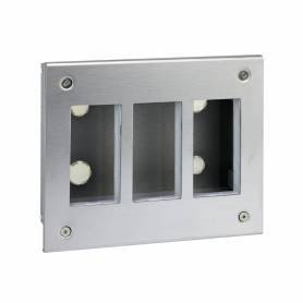 Caja metálica de pared de empotrar para 3 elementos dobles acero inox Simon 500 Cima