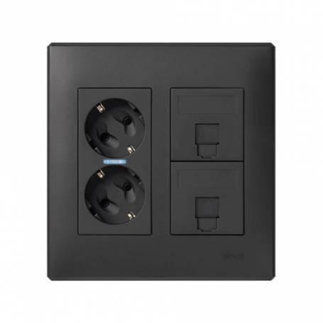 Kit caja pared de superficie o empotrar para 2 elementos dobles con 1 enchufe doble, 2 placas para 1RJ45 grafito Simon 500 Cima