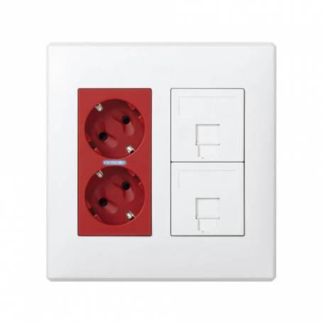 Kit caja pared de superficie o empotrar para 2 elementos dobles con 1 SAI doble y 2 placas para 1 RJ45 blanco Simon 500 Cima