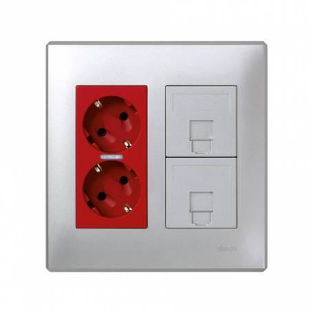 Kit caja pared de superficie o empotrar para  2 elementos dobles con 2 bases de enchufe doble grafito Simon 500 Cima