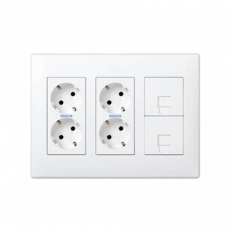 Kit caja pared de superficie o empotrar para 3 elementos dobles con 2 enchufes dobles y 2 placas 1 RJ45 blanco Simon 500 Cima