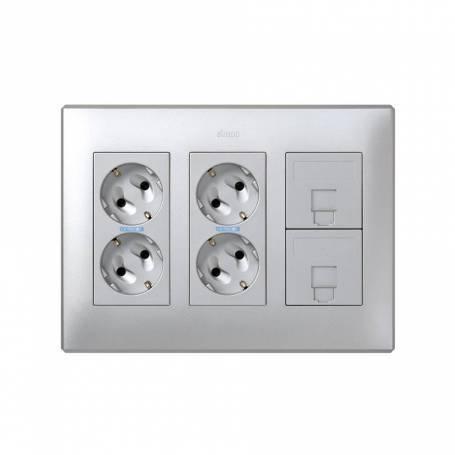Kit caja pared de superficie o empotrar para 3 elementos dobles con 2 enchufes dobles y 2 placas 1 RJ45 aluminio Simon 500 Cima