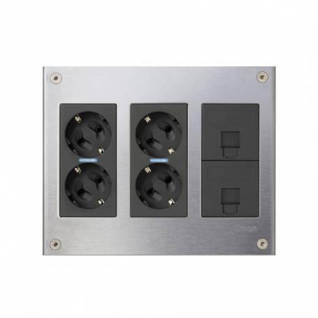 Kit caja metálica pared superficie para 3 elementos dobles con 2 enchufes dobles y 2 placas para 1 RJ45 grafito Simon 500 Cima