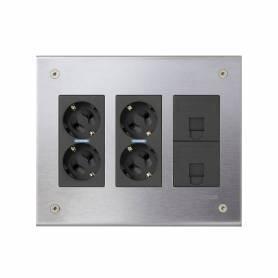 Kit caja metálica pared empotrar para 3 elementos dobles con 2 enchufes dobles y 2 placas para 1 RJ45 grafito Simon 500 Cima