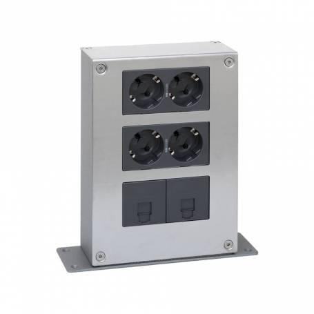 Kit torreta metálica de 3 alturas y 1 cara con 2 bases de enchufe doble y 2 placas para 1 RJ45 grafito Simon 500 Cima