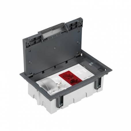 Kit caja suelo regulable técnico 8 elementos 1protección DIN,1enchufe doble,1SAI doble,2placas 2RJ45 gris Simon 500 Cima