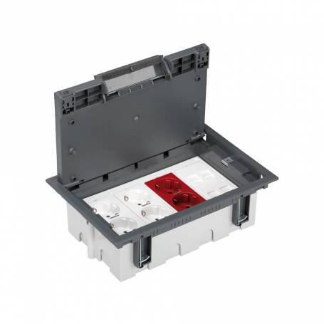 Kit caja suelo regulable técnico 8 elementos con 2 enchufes dobles, 1 SAI doble y 2 placas 2 RJ45 gris Simon 500 Cima