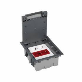 Kit caja de suelo regulable para suelo técnico 6 elementos con enchufe doble,SAI doble,2 placas RJ45 gris Simon 500 Cima