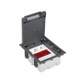 Kit caja de suelo regulable suelo técnico 6 elementos con 1 enchufe doble,1 SAI doble,2 placas 2RJ45 gris Simon 500 Cima