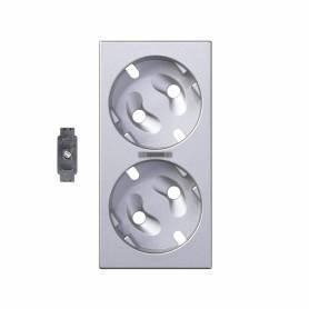 Tapa para el mecanismo de la base de enchufe schuko doble con visor y led indicador aluminio Simon 500 Cima