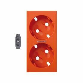 Tapa para el mecanismo de la base de enchufe schuko doble con visor y led indicador naranja Simon 500 Cima