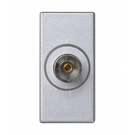 Toma TV simple IEC hembra con placa embellecedora aluminio Simon K45