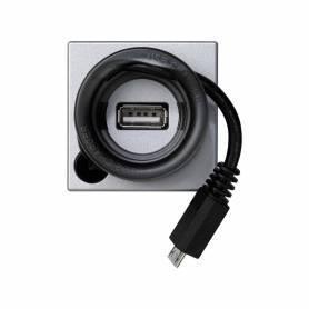 Cargador de 5V/DC mediante puerto USB tipo A y latiguillo micro-USB con enrollacable aluminio Simon K45