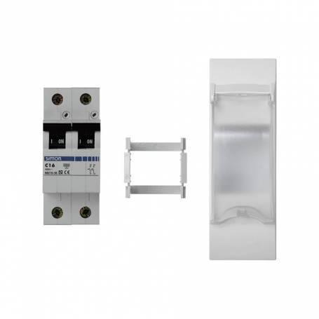 Magnetotérmico bipolar 16 A de 3 elementos con placa embellecedora blanco Simon K45