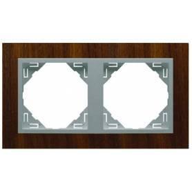Marco Doble Nogal/Aluminio