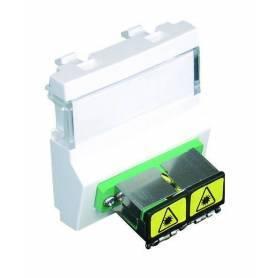 Módulo con Adaptador para Conectores de Fibra Óptica SC APC Duplex - 2 Módulos Blanco