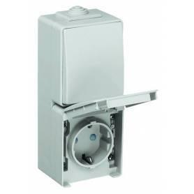 Conmutador/Base Schuko Vertical con Protección Blanco