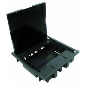 Caja de Suelo Gris con Tapa Acero Inoxidable - 16 Módulos