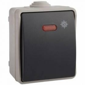 Pulsador con interruptor luminoso y bornes de tornillo 65x80x55