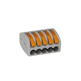 Regleta de 5P para 5 x 4 cables flexibles o para 5 x 2,5 cables rígidos.