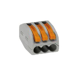 Regleta de 3 P para 3 x 4 cables flexibles o para 3 x 2,5 cables rígidos.