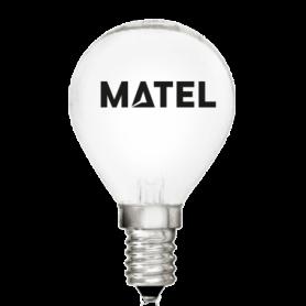 Bombilla esférica Incandescente MATE E-14  25w. Marca Matel