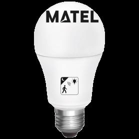 Bombilla led estándar Con sensor crepuscular y movimiento E27 10w FRIA Marca Matel