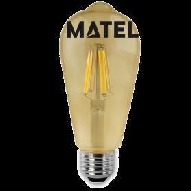 Bombilla Led Filamento Pera E27 6w. Marca Matel