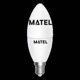 Bombilla Led Vela REGULABLE E14 7w.CALIDA Marca Matel