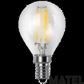 Bombilla Led con Filamento esférica CLARA E14 2w.CALIDA Marca Matel