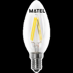 Bombilla Led con Filamento Vela CLARA E14 2w.CALIDA Marca Matel
