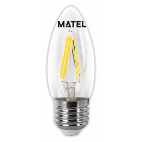 Bombilla Led con Filamento Vela CLARA E27 2w CALIDA Marca Matel