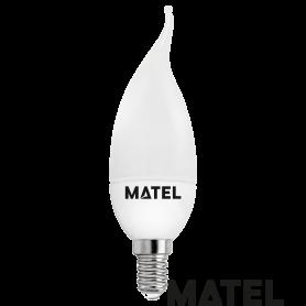 Bombilla led Vela Flama E14 6w.FRIA Marca Matel