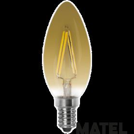 Bombilla led Filamento Vela Vintage E27 4w. Marca Matel