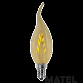 Bombilla led Filamento Vela Vintage E14 4w. Marca Matel