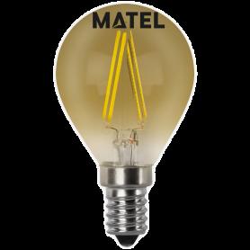 Bombilla led Filamento esférica Vintage E14 4w. Marca Matel