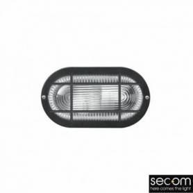 Aplique de superficie modelo TORUTGA IP-44 ovalada rejilla blanco y cristal marca Secom Iluminación