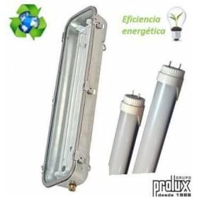 Pantalla Estanca Inox para Tubo Led 2X10W con emergencia ( tubos incluidos) marca Prolux