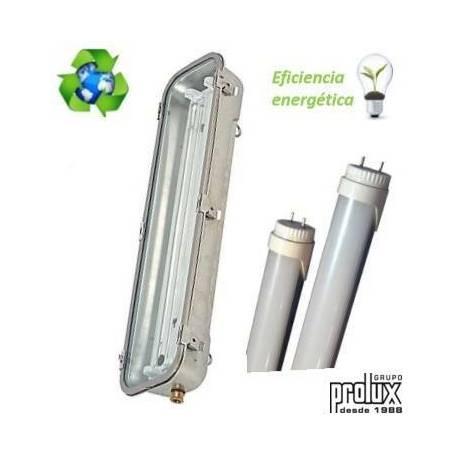 Pantalla Estanca Inox para Tubo Led 2X18W con emergencia ( tubos incluidos) marca Prolux