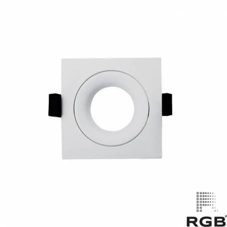 Aro diseño CUADRADO corte 76mm BLANCO marca LedRGB
