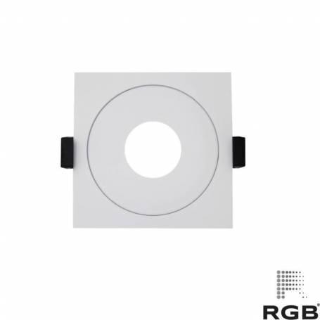 Aro diseño CUADRADO corte 89mm BLANCO marca LedRGB
