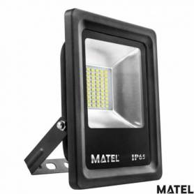 Proyector Led Aluminio Plano Negro 20W Luz Calida marca Matel
