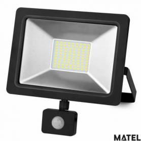 Proyector Led Aluminio Plano Negro 10W Luz Calida marca Matel