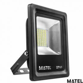 Proyector Led Aluminio Plano Negro 30W Luz Calida marca Matel