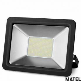 Proyector Led Aluminio Plano Negro 100W Luz Calida marca Matel